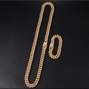 Other - Gold Cuban Link Necklace Bracelet Unisex Jewelry